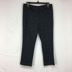 Ann Taylor Black Jacquard Signature Ankle Pants